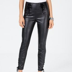 Guess Lace Up Faux Leather Black Wet Look Skinny